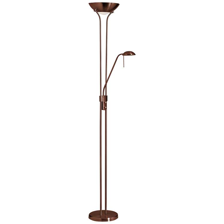 Mother and Son Oil Brushed Bronze Metal Torchiere Floor Lamp