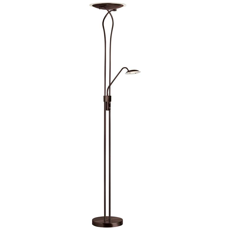 Mother and Son Bronze Metal LED Torchiere Floor Lamp