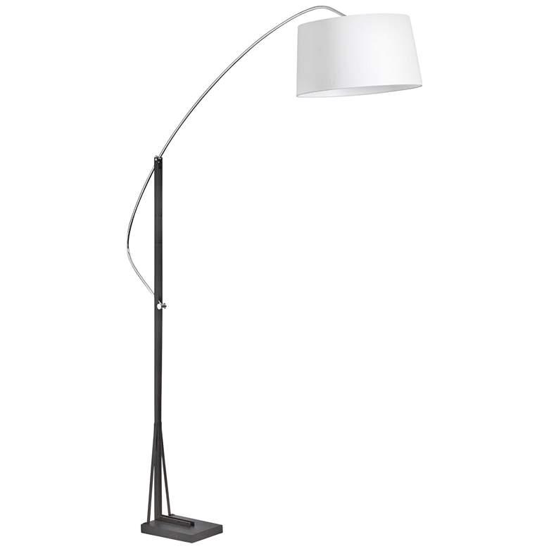 Alexa Chrome and Black Arc Floor Lamp w/ White Tapered Shade