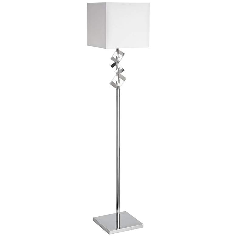 Wilson Polished Chrome Metal Floor Lamp with Crystal Cubes