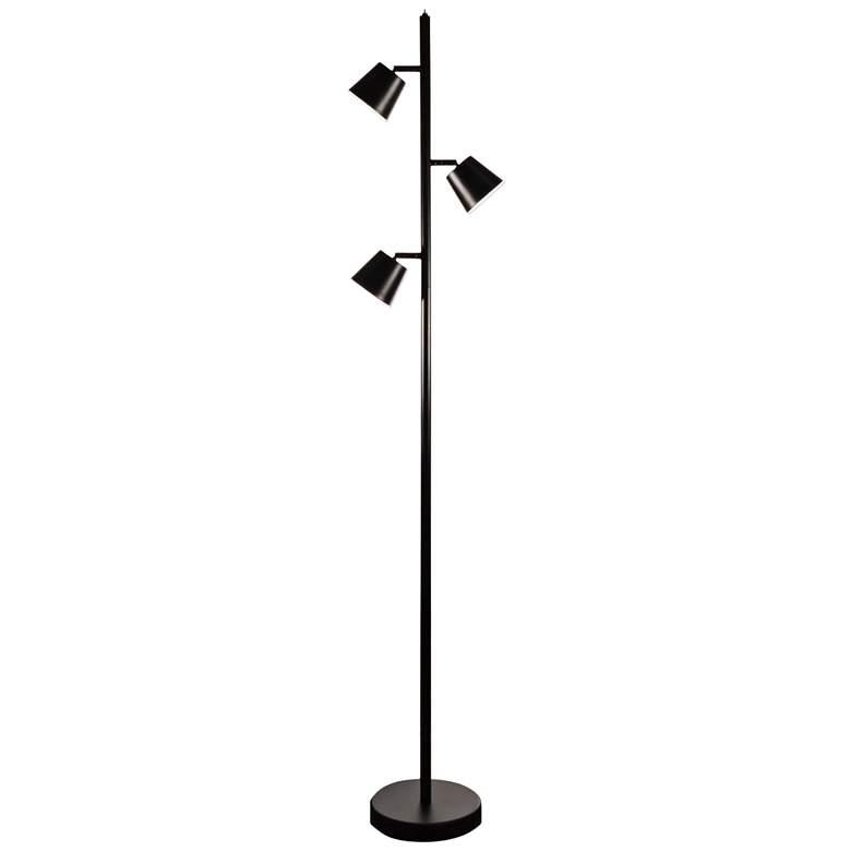 Andrews Matte Black Metal 3-Light LED Tree Floor Lamp