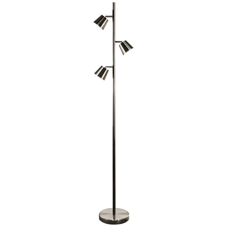 Andrews Satin Chrome Metal 3-Light LED Tree Floor