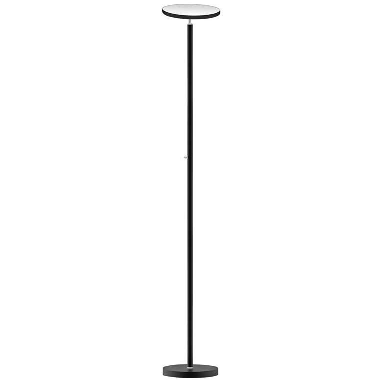 Jasmine Satin Black Metal LED Torchiere Floor Lamp