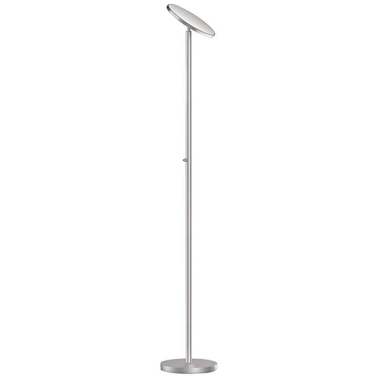 Jasmine Satin Chrome Metal LED Torchiere Floor Lamp