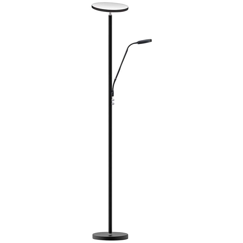 Mother and Son Satin Black Metal LED Torchiere Floor Lamp