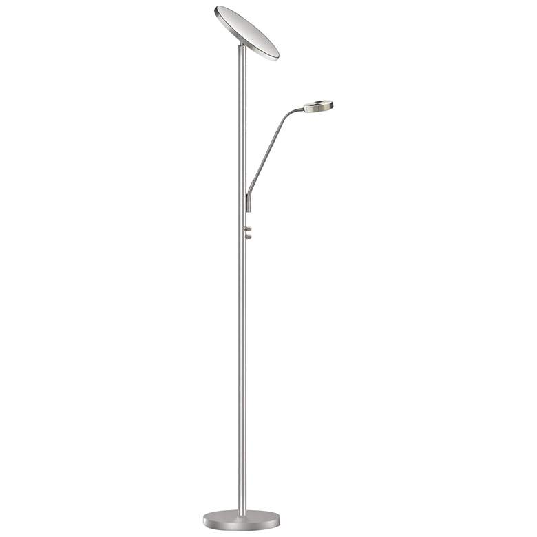Mother and Son Satin Chrome Metal 23W LED Torchiere Floor Lamp