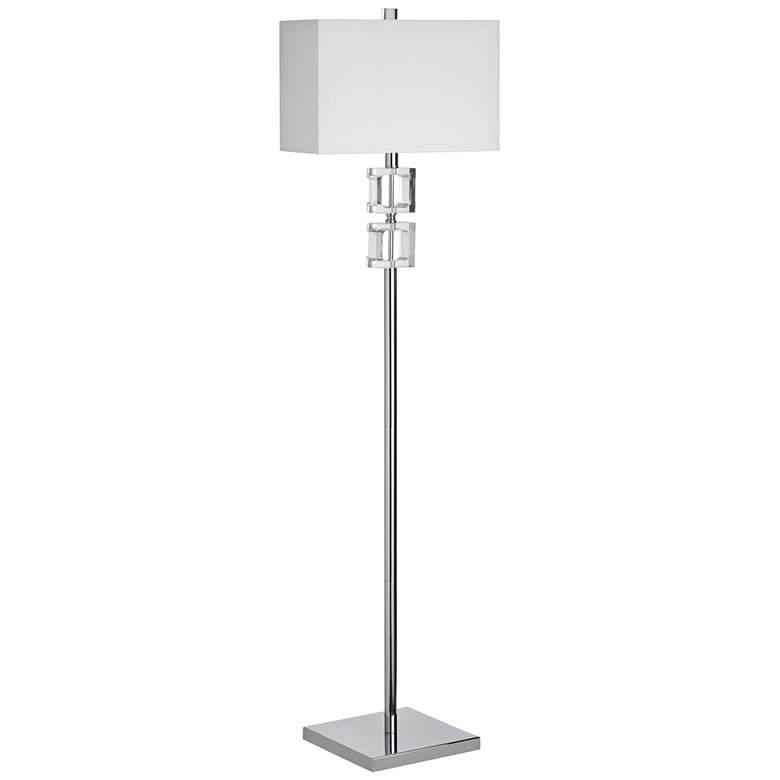 Caroline Polished Chrome Floor Lamp with Square Glass