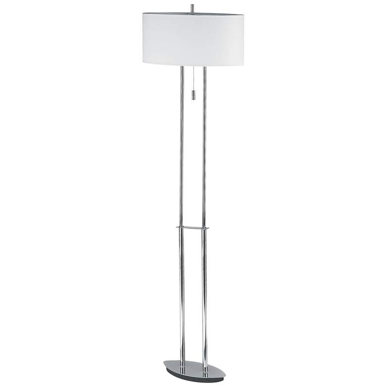 Cirque Polished Chrome Metal Floor Lamp with Oval Shade
