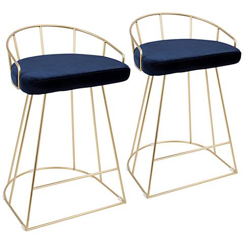 """Canary 26"""" Blue Velvet Counter Stools Set of 2"""