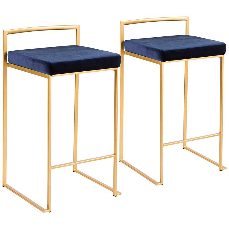 "Fuji 27"" Blue Velvet Stackable Counter Stools Set"