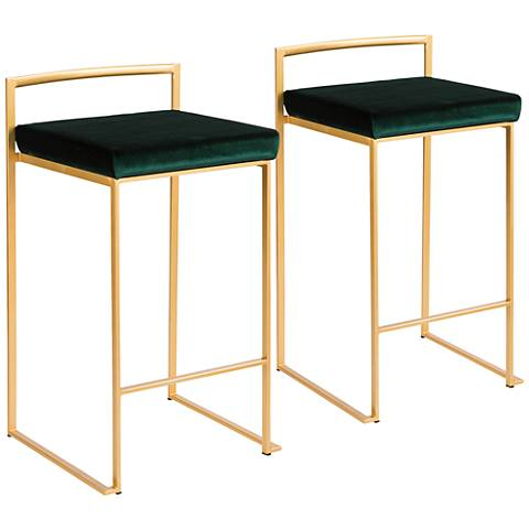 "Fuji 27"" Green Velvet Stackable Counter Stools Set of 2"