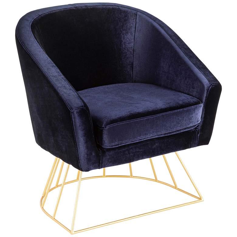 Stupendous Canary Royal Blue Velvet Accent Chair Machost Co Dining Chair Design Ideas Machostcouk
