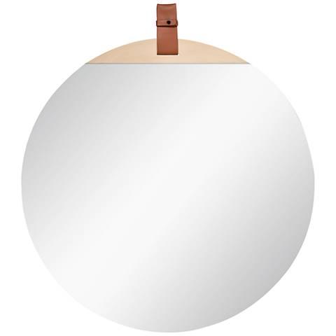 "Cooper Classics Heppner Natural Wood 30"" Round Wall Mirror"