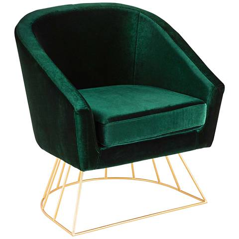 Canary Emerald Green Velvet Accent Chair