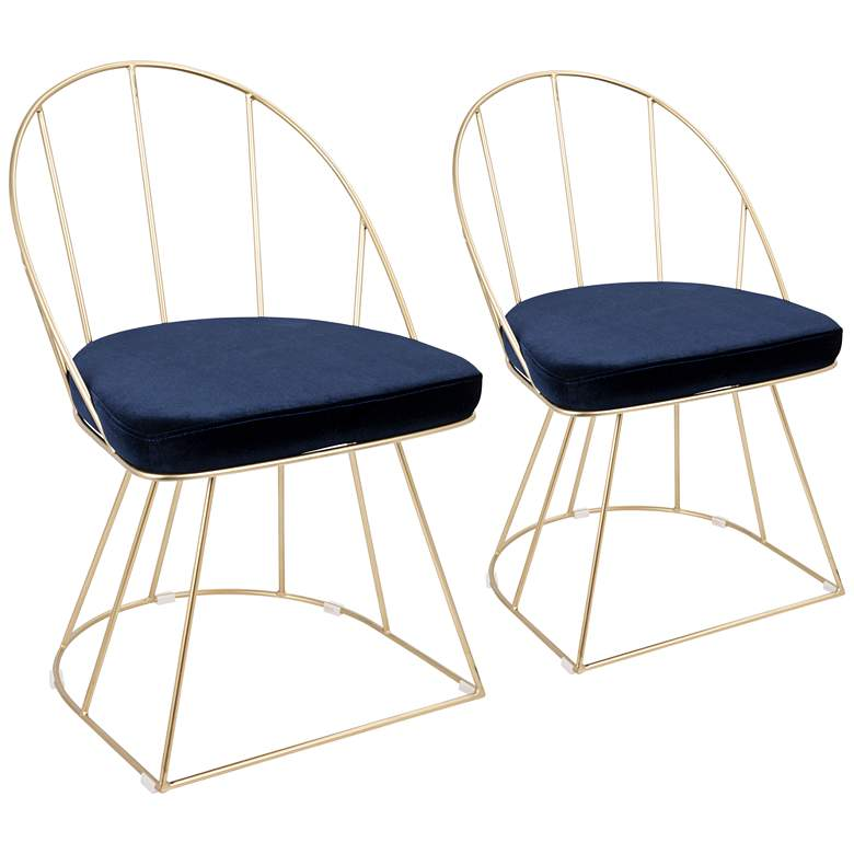 Canary Blue Velvet Dining Chairs Set of 2
