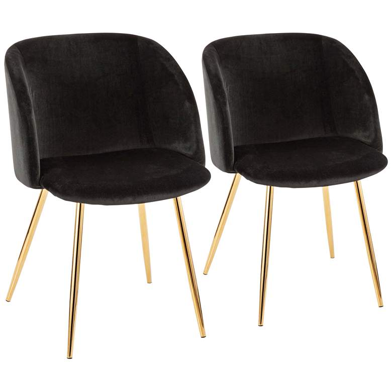 Fran Gold Metal and Black Velvet Dining Chairs