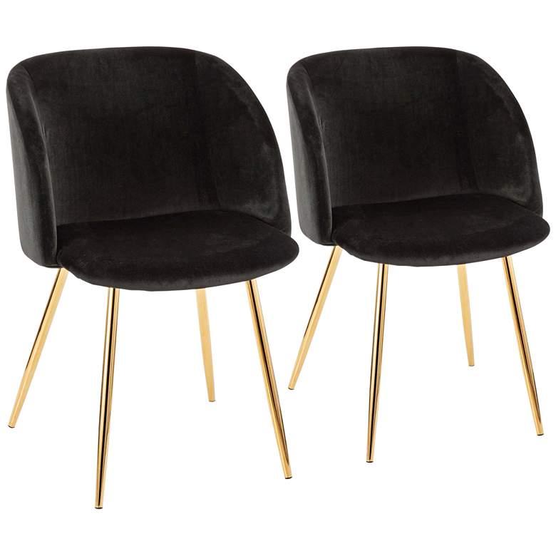 Stupendous Fran Gold Metal And Black Velvet Dining Chairs Set Of 2 Dailytribune Chair Design For Home Dailytribuneorg