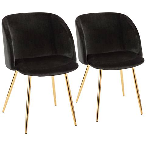 Fran Gold Metal and Black Velvet Dining Chairs Set of 2