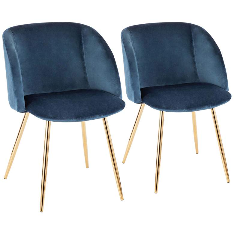Fran Gold Metal and Blue Velvet Dining Chairs Set of 2