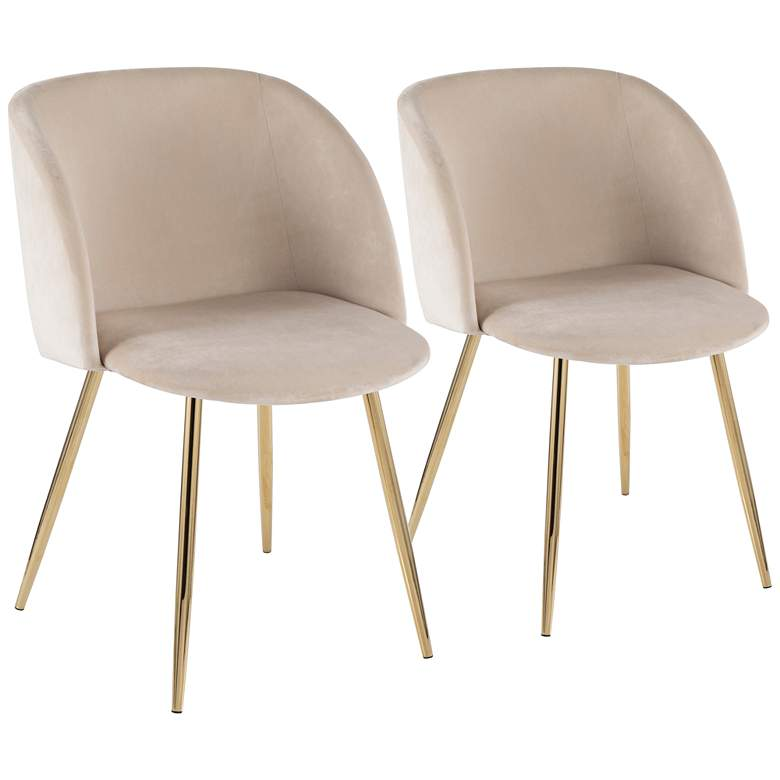 Fran Gold Metal and Cream Velvet Dining Chairs