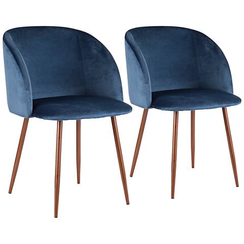 Fran Blue Velvet and Walnut Dining Chairs Set of 2