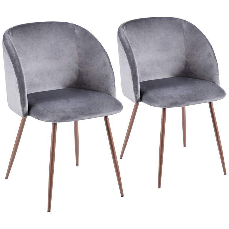 Fran Gray Velvet and Walnut Dining Chairs Set of 2