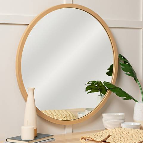 "Cooper Classics Brunswick Natural Wood 30"" Round Wall Mirror"