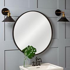 """Cooper Classics Luna Black Matte 30"""" Round Wall Mirror"""
