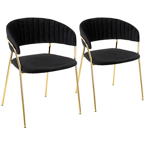 Tania Gold Metal with Black Velvet Armchairs Set of 2