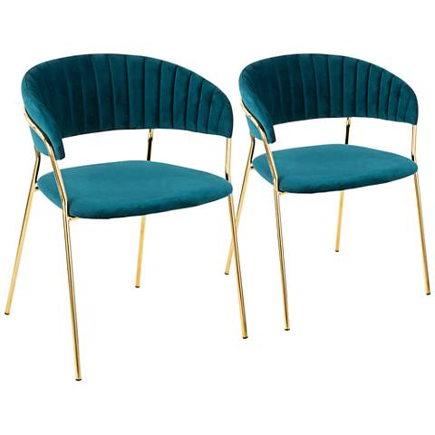 Tania Gold Metal with Teal Velvet Armchairs Set of 2