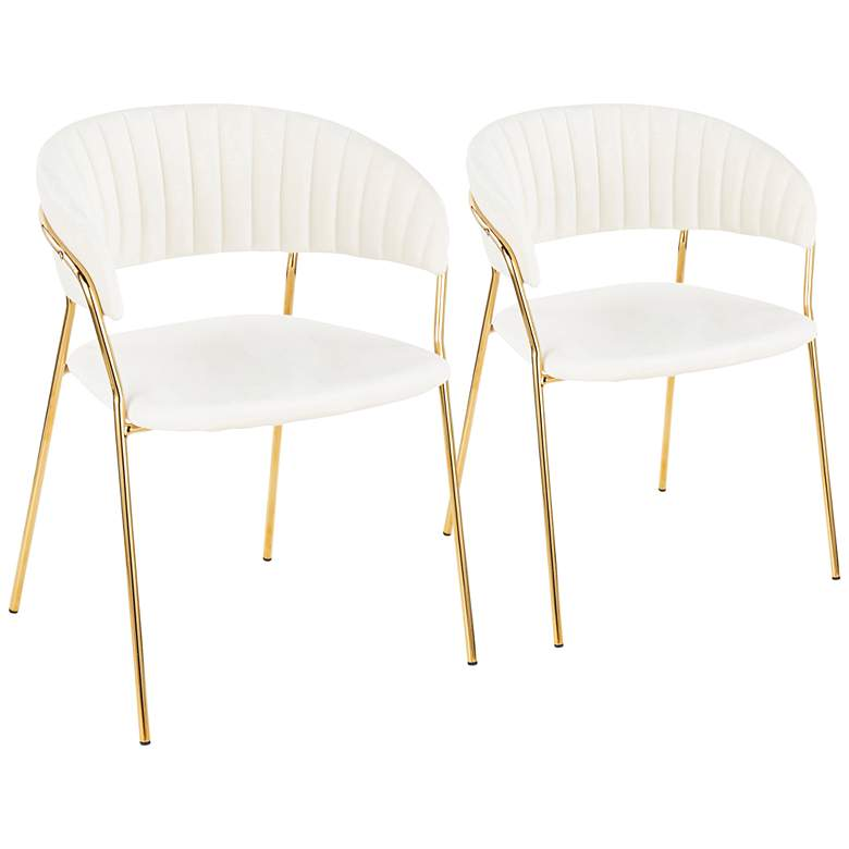 Tania Gold Metal with White Velvet Armchairs Set of 2