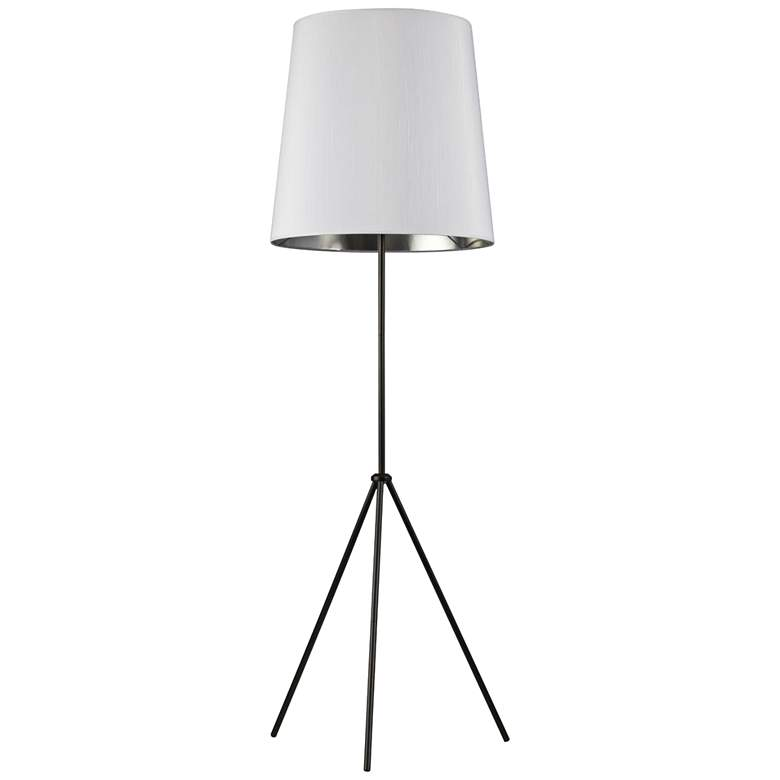 Finesse Matte Black Floor Lamp with Small White-Silver Shade
