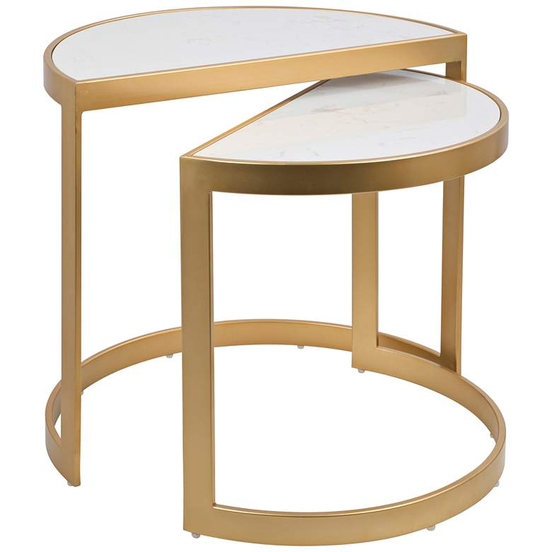 Demi White Marble Top U-Shape Nesting Tables Set of 2
