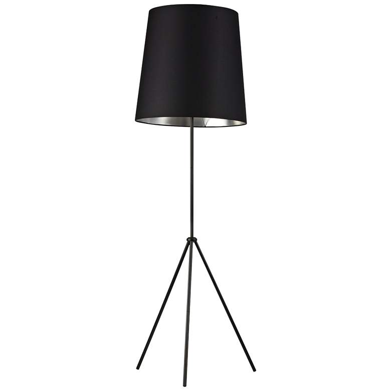 Finesse Matte Black Floor Lamp with Small Black-Silver