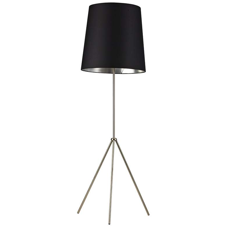 Finesse Satin Chrome Floor Lamp with Small Black-Silver Shade
