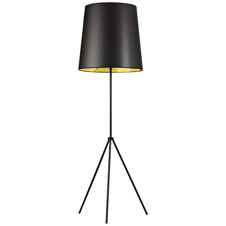 Finesse Matte Black Floor Lamp with Small Black-Gold Shade