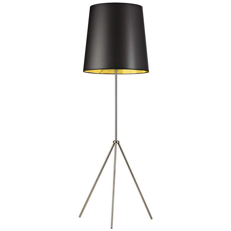 Finesse Satin Chrome Floor Lamp with Small Black-Gold Shade