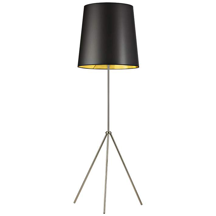 Floor Lamp With Small Black Gold Shade