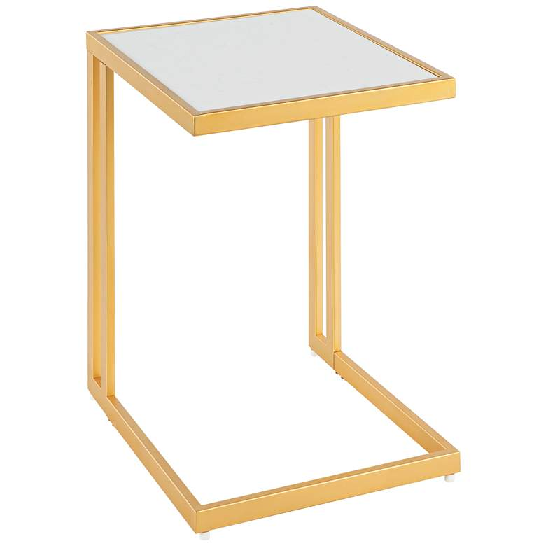 """Roman 16 1/2"""" Wide White Marble and Gold C-Shape Side Table"""
