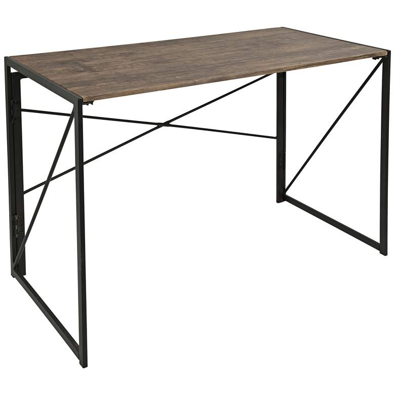 "Dakota 39 1/2"" Wide Black Metal and Rustic Wood Office Desk"