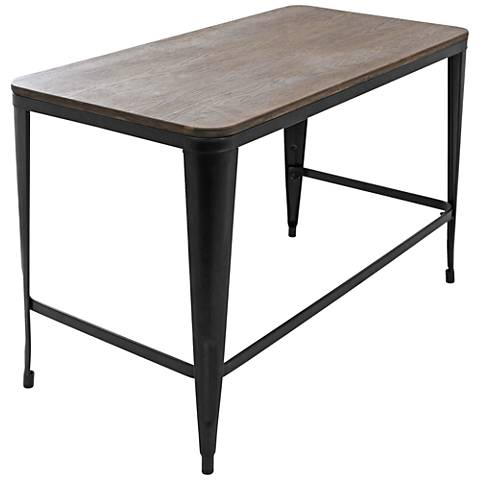 Pia Espresso Wood Top And Black Metal Desk 60g91 Lamps Plus