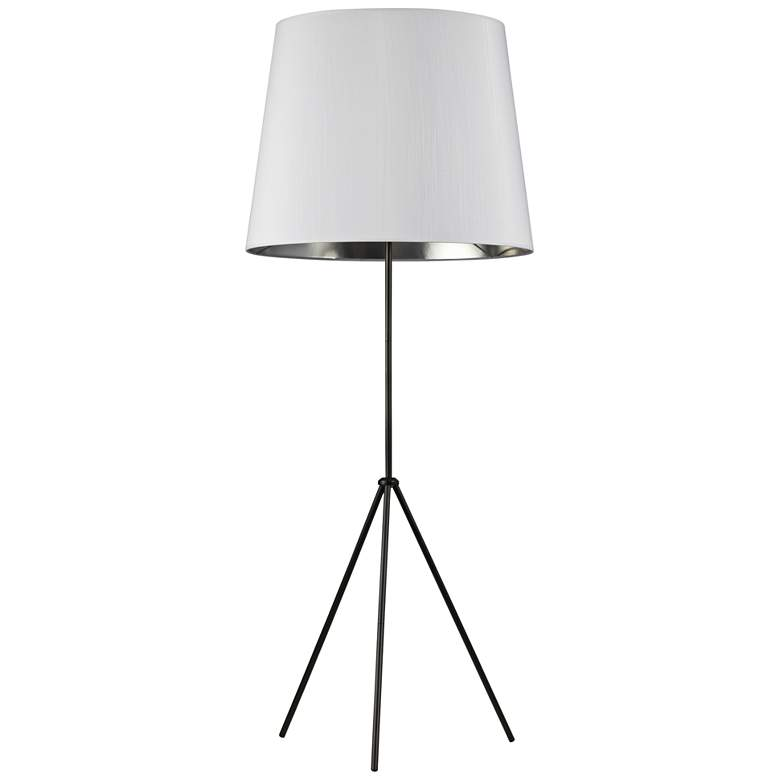 Finesse Matte Black Floor Lamp with Large White-Silver Shade