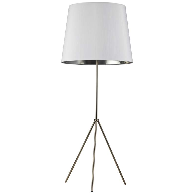 Finesse Satin Chrome Floor Lamp with Large White-Silver Shade