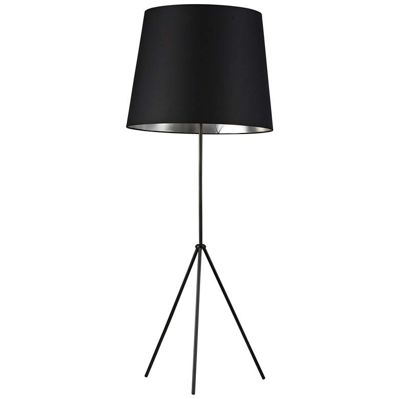 Finesse Matte Black Floor Lamp with Large Black-Silver Shade