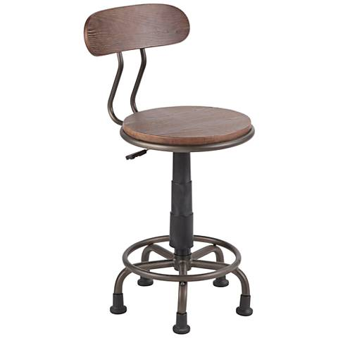 Dakota Antique Metal and Espresso Wood Adjustable Task Chair