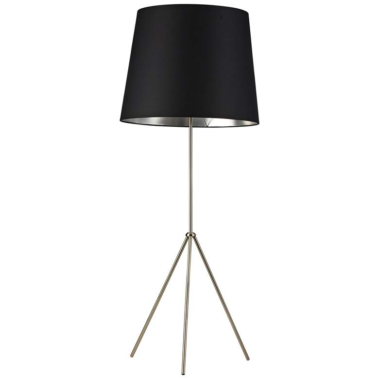 Finesse Satin Chrome Floor Lamp with Large Black-Silver