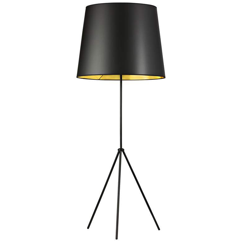 Finesse Matte Black Floor Lamp with Large Black-Gold Shade