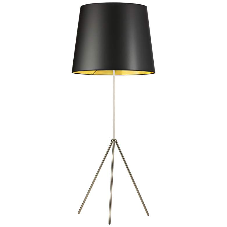 Finesse Satin Chrome Floor Lamp with Large Black-Gold Shade