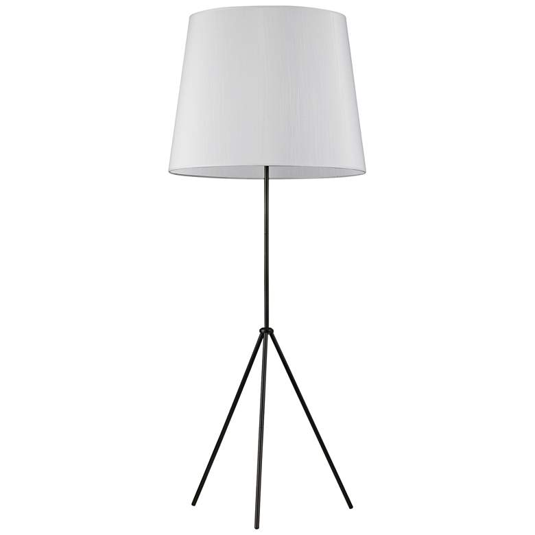 Finesse Matte Black Floor Lamp with Large JTone White Shade