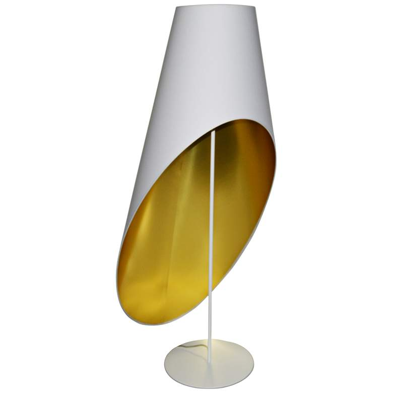 Slanted Drum White and Gold Floor Lamp